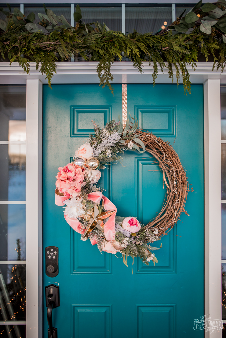 christmas front porch decor with romantic diy wreath