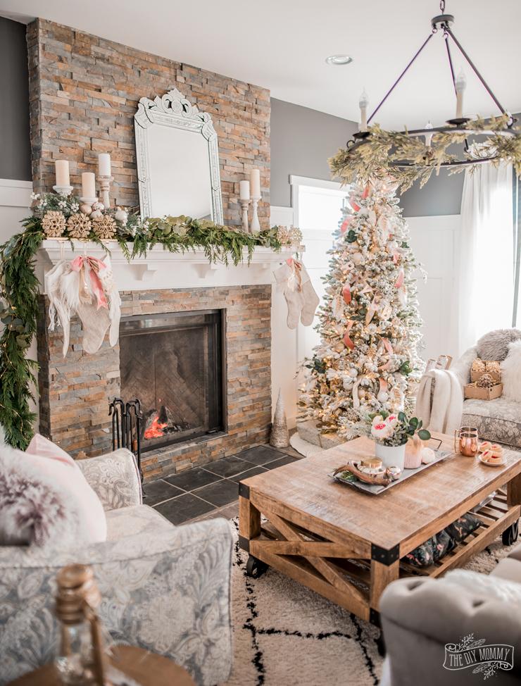 Romantic Glam Christmas Living Room Decor