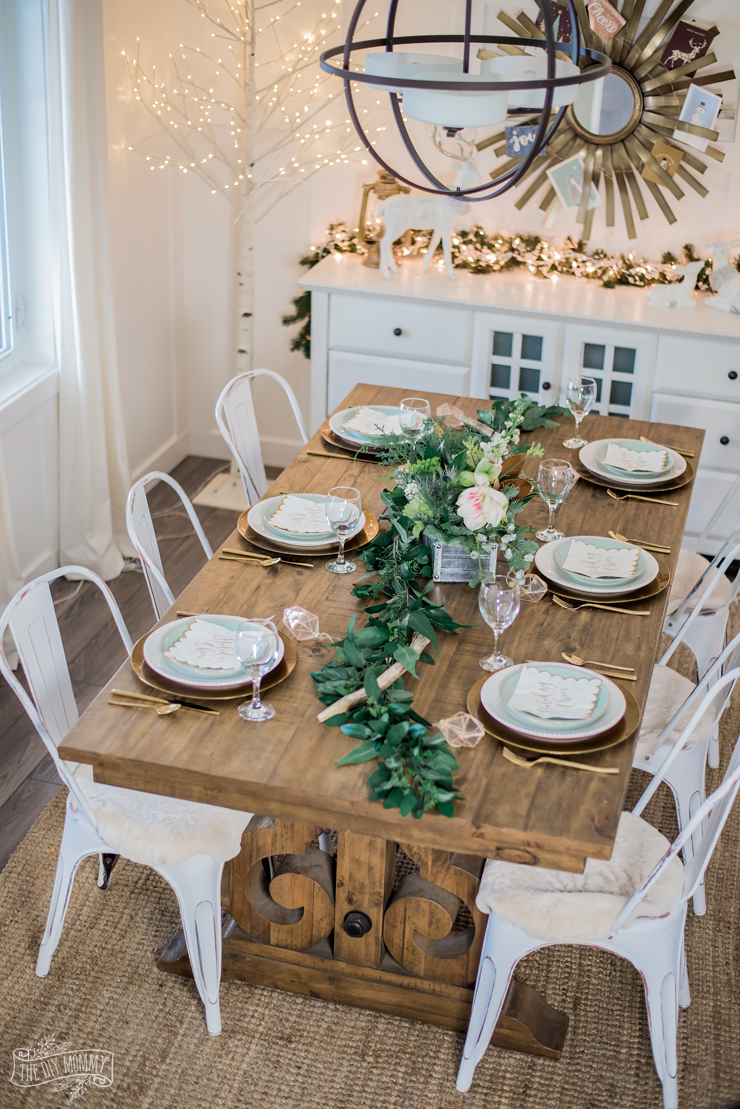 Two Neutral Rustic Glam Christmas Table Ideas The Diy Mommy