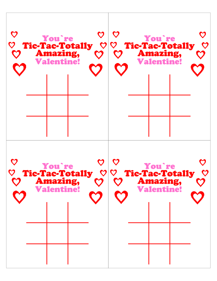photograph about Free Printable Tic Tac Toe Board known as No cost Printable Tic Tac Toe Valentines Working day Playing cards with Pen