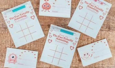 Tic Tac Toe Free Valentine's Day Card Printable featuring dollar store pens