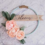 Hoop Wreath with DIY Fabric Flowers