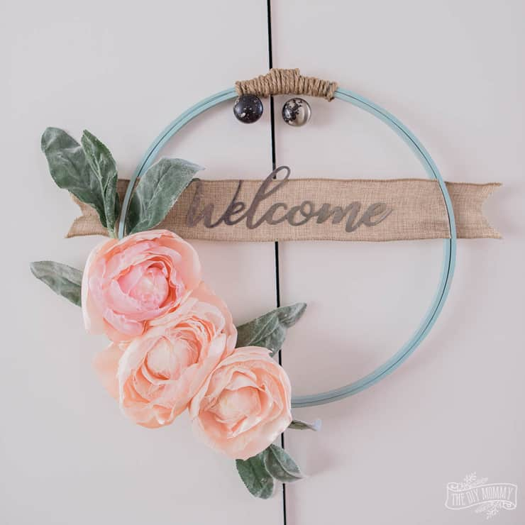 Hoop Wreath with DIY Fabric Flowers for Spring