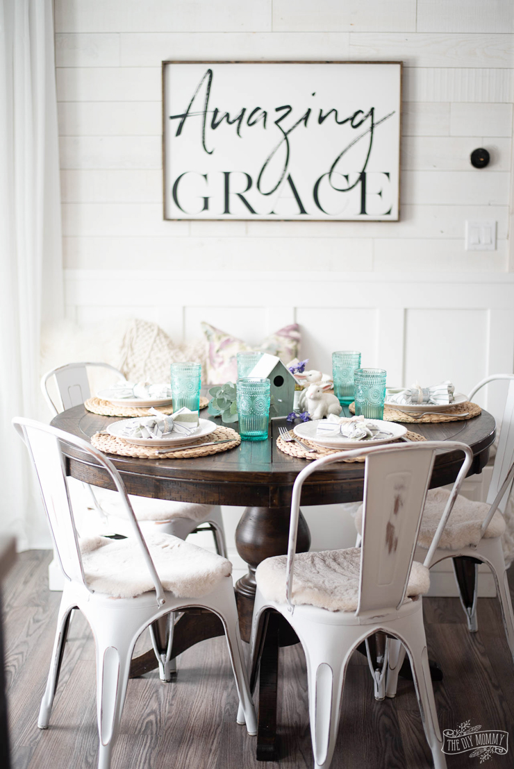 Budget Friendly Spring or Easter Tablescape Idea