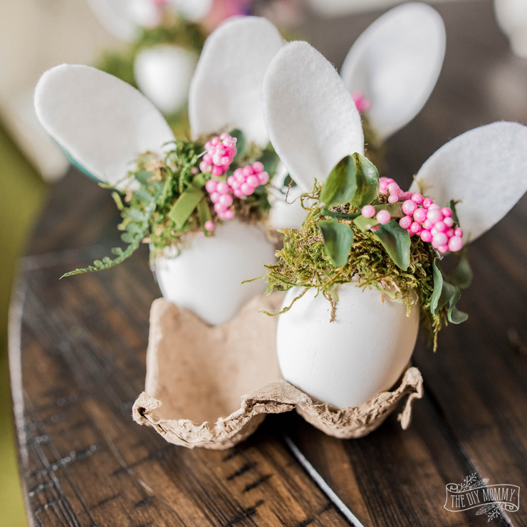 DIY Easter Bunny Eggs with Tiny Floral Crowns
