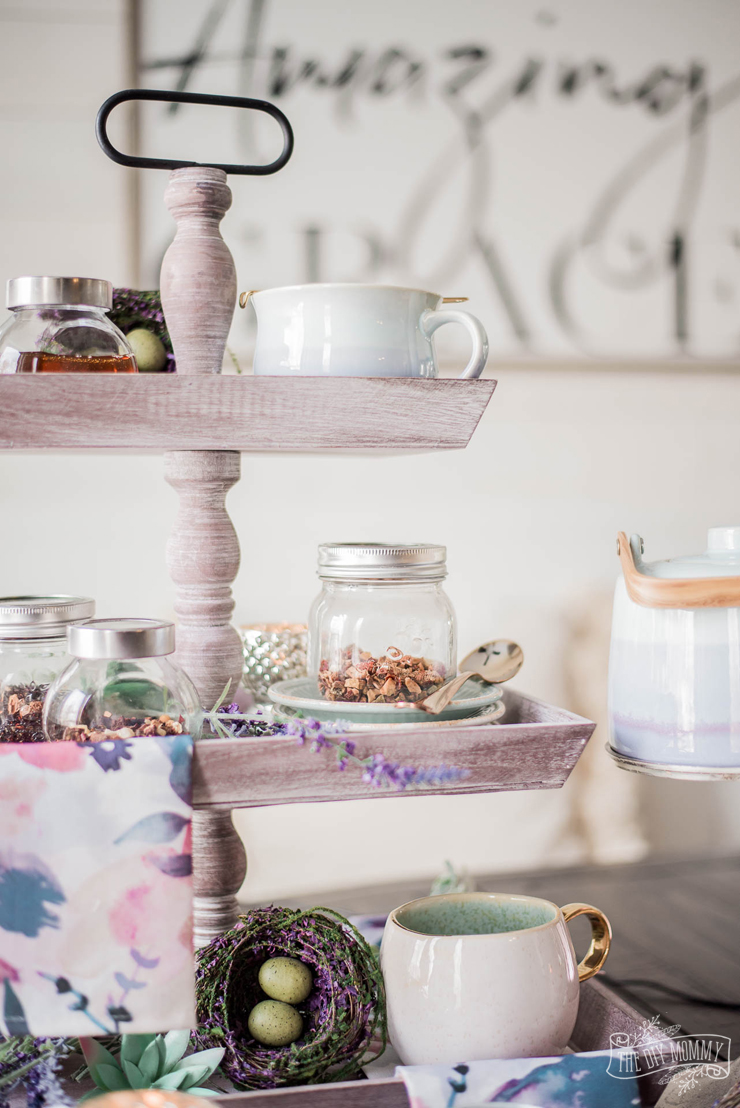 Lavender and Aqua Spring Tea Station on a Wooden Tiered Tray