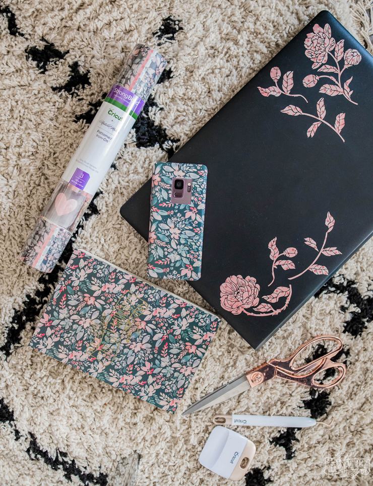 DIY Floral Laptop, Phone & Notebook Stickers with Cricut