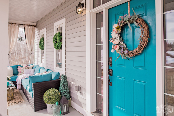 Spring Porch Decor - Colorful Boho Farmhouse with tons of DIY ideas