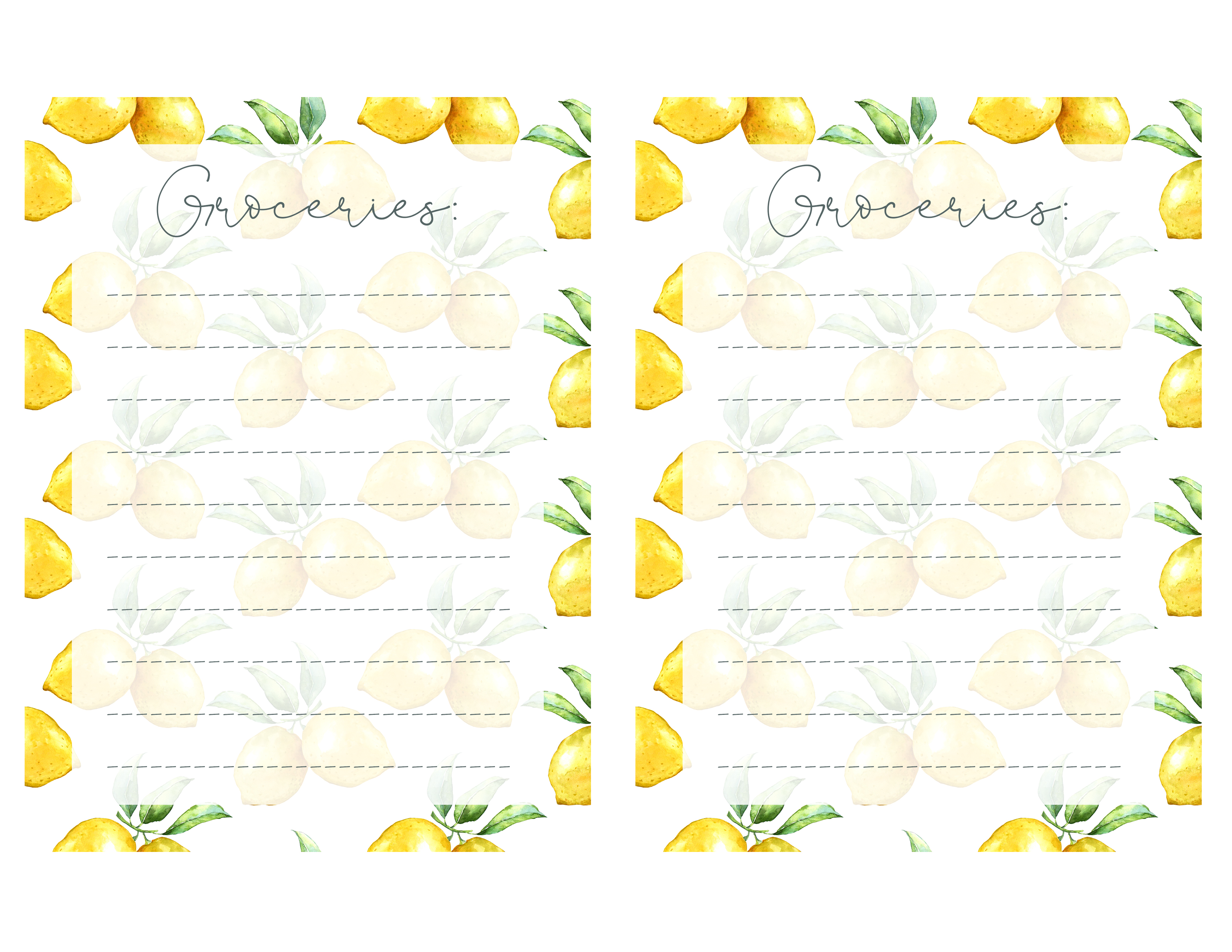 photo relating to Printable titled Cost-free Lemon Themed Printable Towards-Do Grocery Checklist