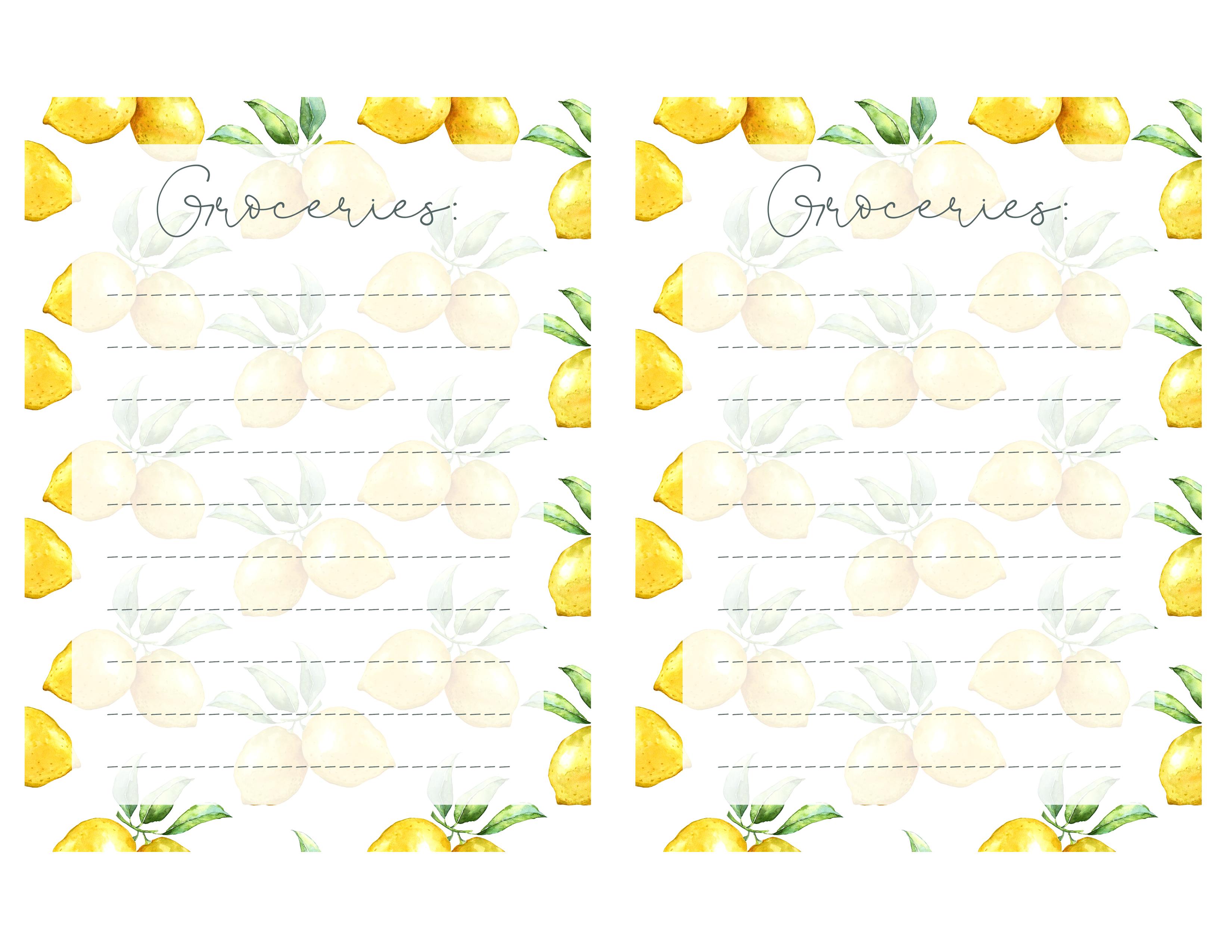 image regarding Printable named Absolutely free Lemon Themed Printable Toward-Do Grocery Listing