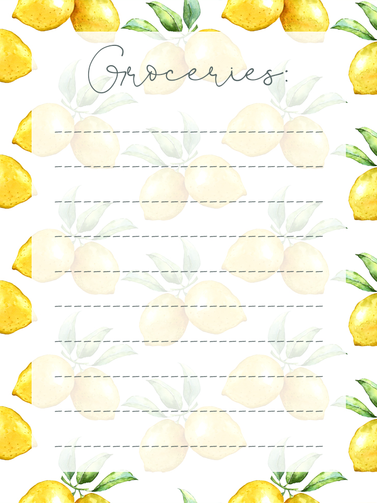Free Printable Lemon Themed Grocery List