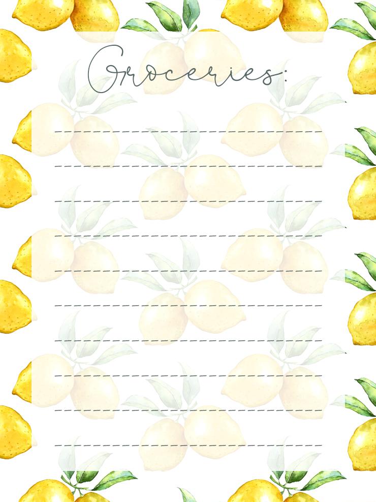 Free Printable Lemon Themed Grocery List