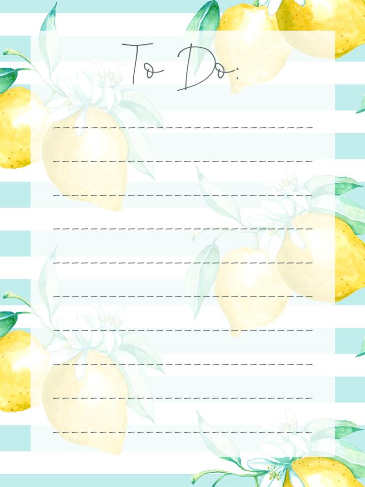 Free Printable Lemon Themed To Do List