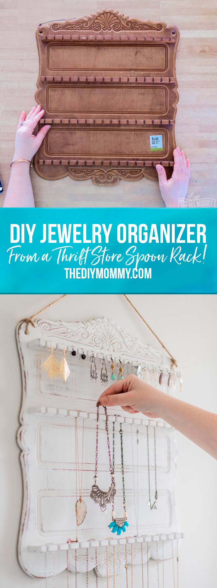 Learn how to turn a vintage spoon rack into a jewelry organizer.