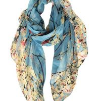 GERINLY Scarfs for Women Lightweight Floral Birds Print Shawl Head Wraps