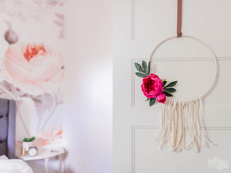 Summer hoop wreath idea with macrame cord and faux succulents or flowers