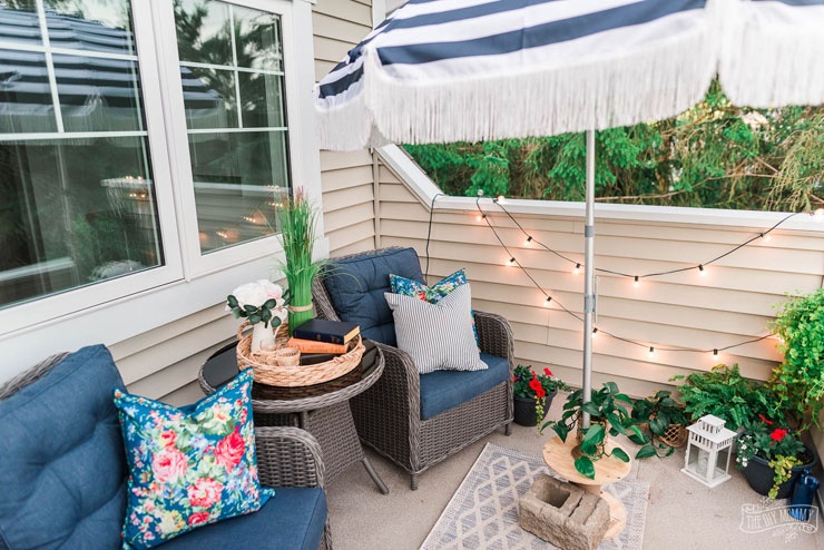 Country Cottage Small Balcony Decor with DIY Striped Fringed Umbrella