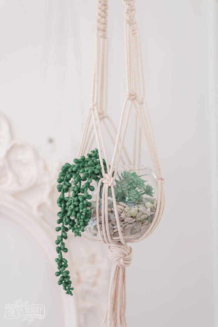 image about Free Printable Macrame Plant Hanger Patterns identified as Do-it-yourself Macrame Plant Hanger with a Thrifted Vase