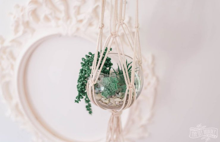 How to make a DIY macrame plant hanger with a thrifted vase and faux succulents