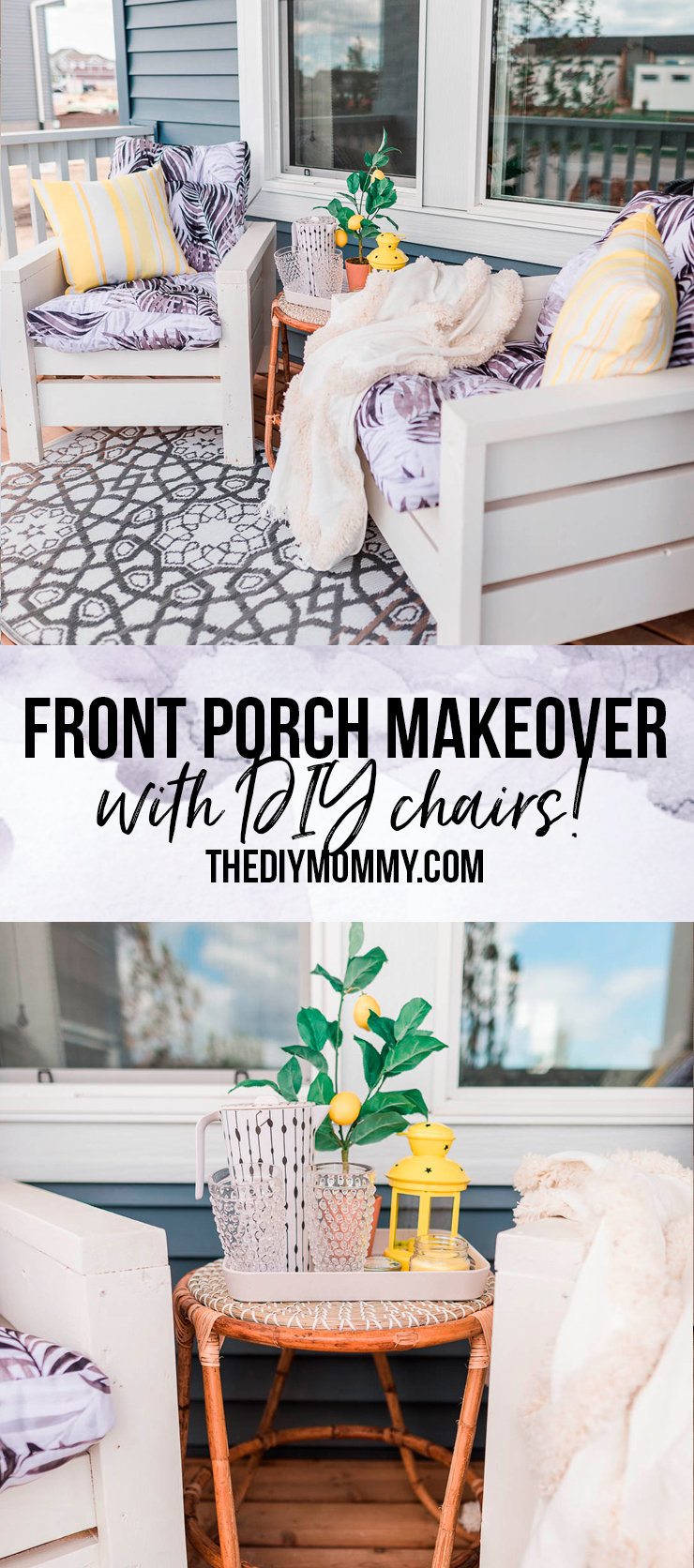 This front porch makeover with DIY outdoor chairs features bright yellow accents and handmade planter boxes. Get ideas for small front porch decorating!