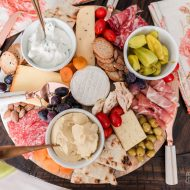 Make a Mediterranean Summer Charcuterie Board with 2 Ingredient Flatbread