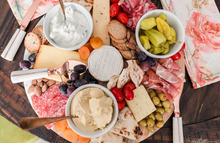 Mediterranean Summer Charcuterie Board idea with DIY 2 Ingredient Flatbread