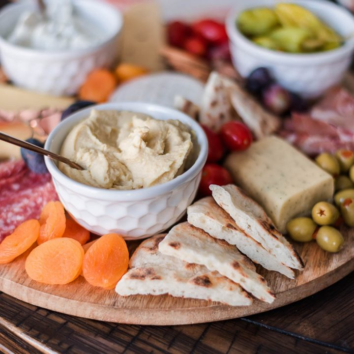 Mediterranean Summer Charcuterie Board idea with DIY 2 Ingredient Flatbread