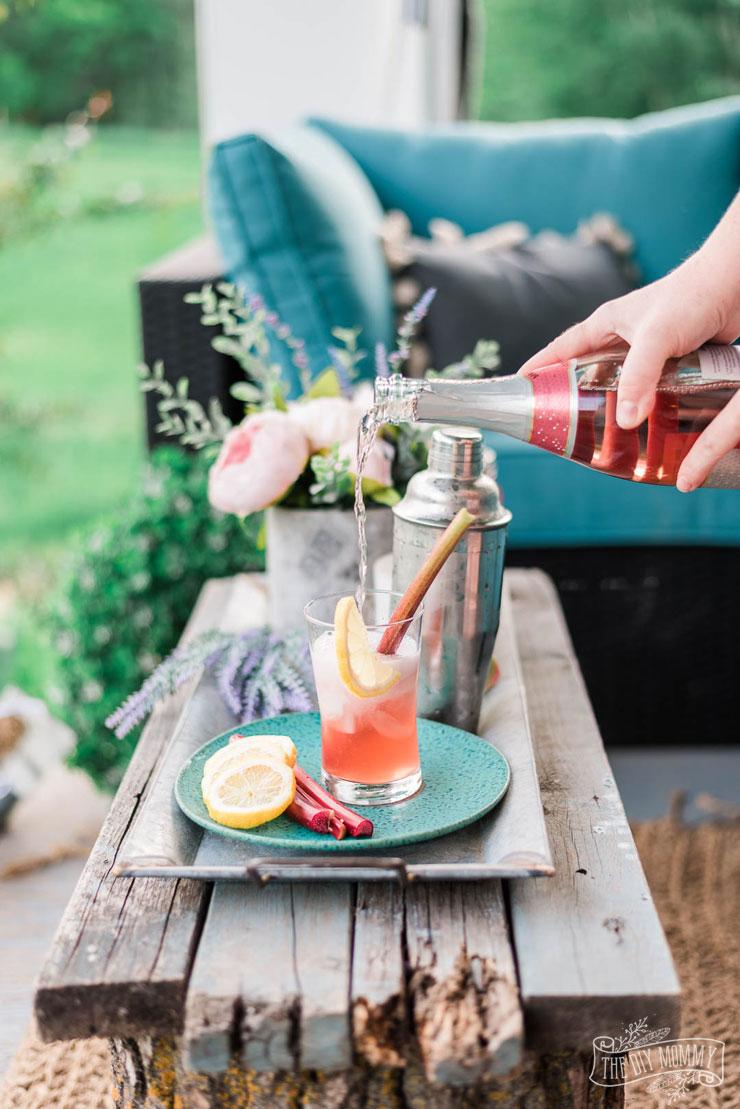 Strawberry Rhubarb Gin Fizz summer cocktail recipe