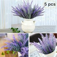 Artificial Lavender Flowers Bouquet 5 Pcs Fake Flocked Plant Purple Fake Flower Decor Brighten Home Party Wedding Centerpieces Arrangements
