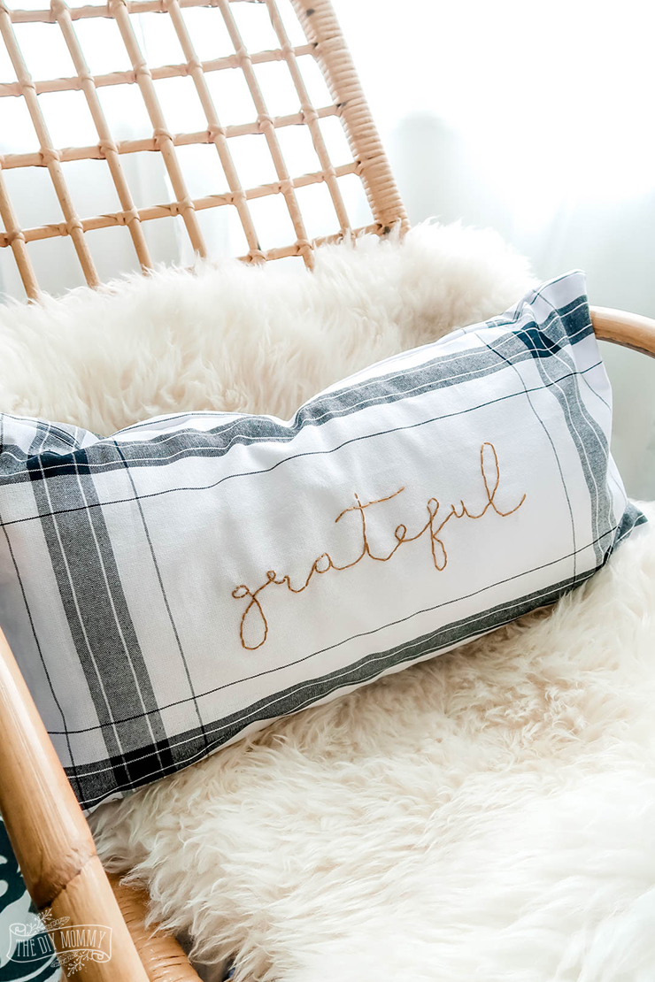 Make an embroidered Fall pillow from Dollar Tree plaid towels