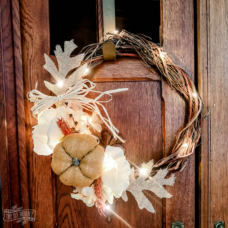 Make a rustic, lit Fall wreath for 6 dollars!