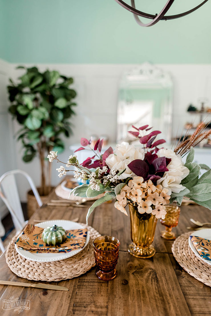 Beautiful Fall tablescape with items from the thrift store and dollar store