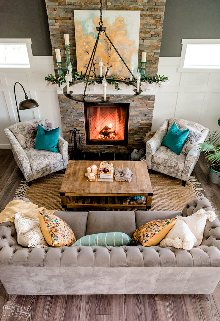 Cozy Fall living room decor in mustard yellow, teal and grey