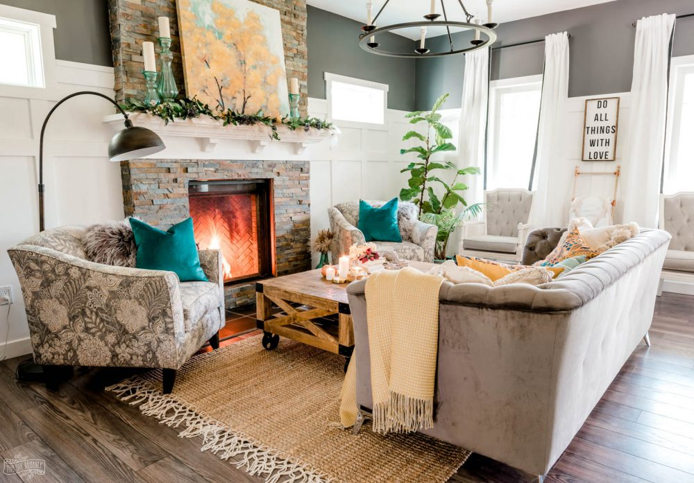 Our Cozy Fall Living Room With Simple Mantel Decor The Diy Mommy