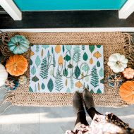 Make a DIY Fall Doormat from a Shower Curtain