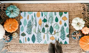 DIY Fall Front Doormat from a shower curtain and dollar store mat