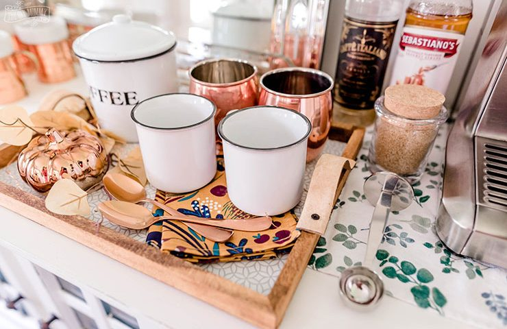 Budget friendly Fall coffee station idea using dollar store items and a DIY dollar store tray