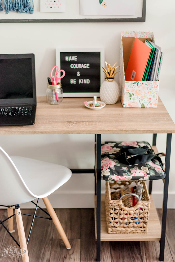 Budget friendly organized homework station for back to school