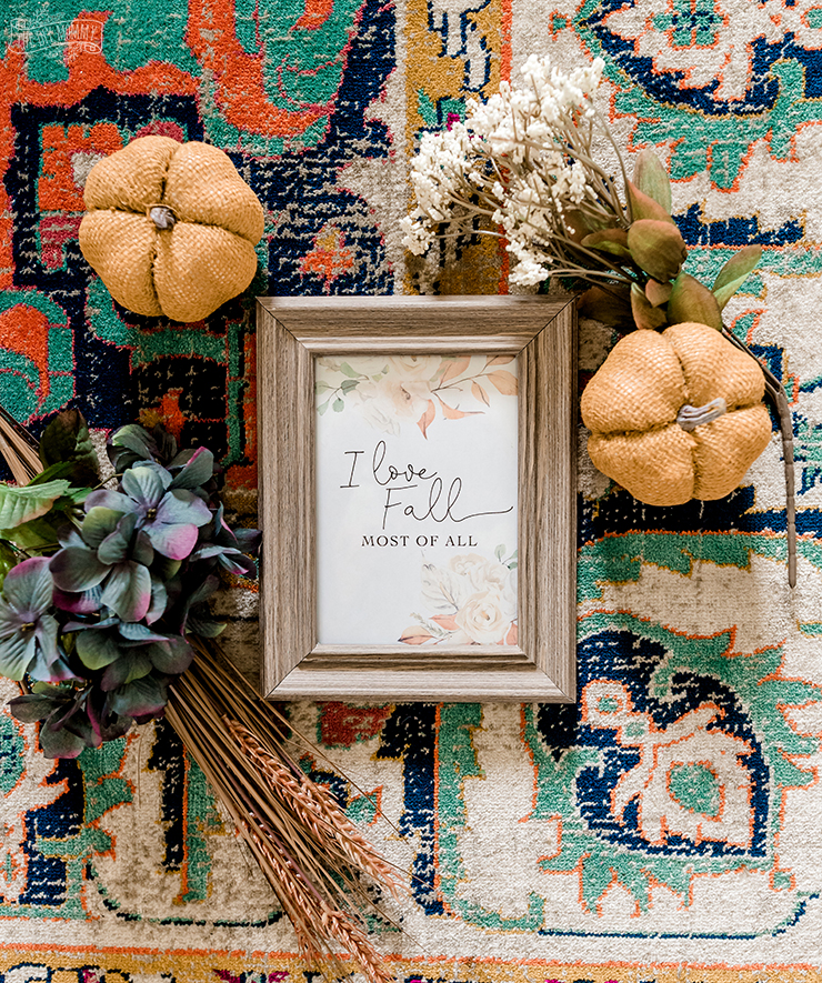 I Love Fall Most of All - Free printable floral artwork in subtle shades