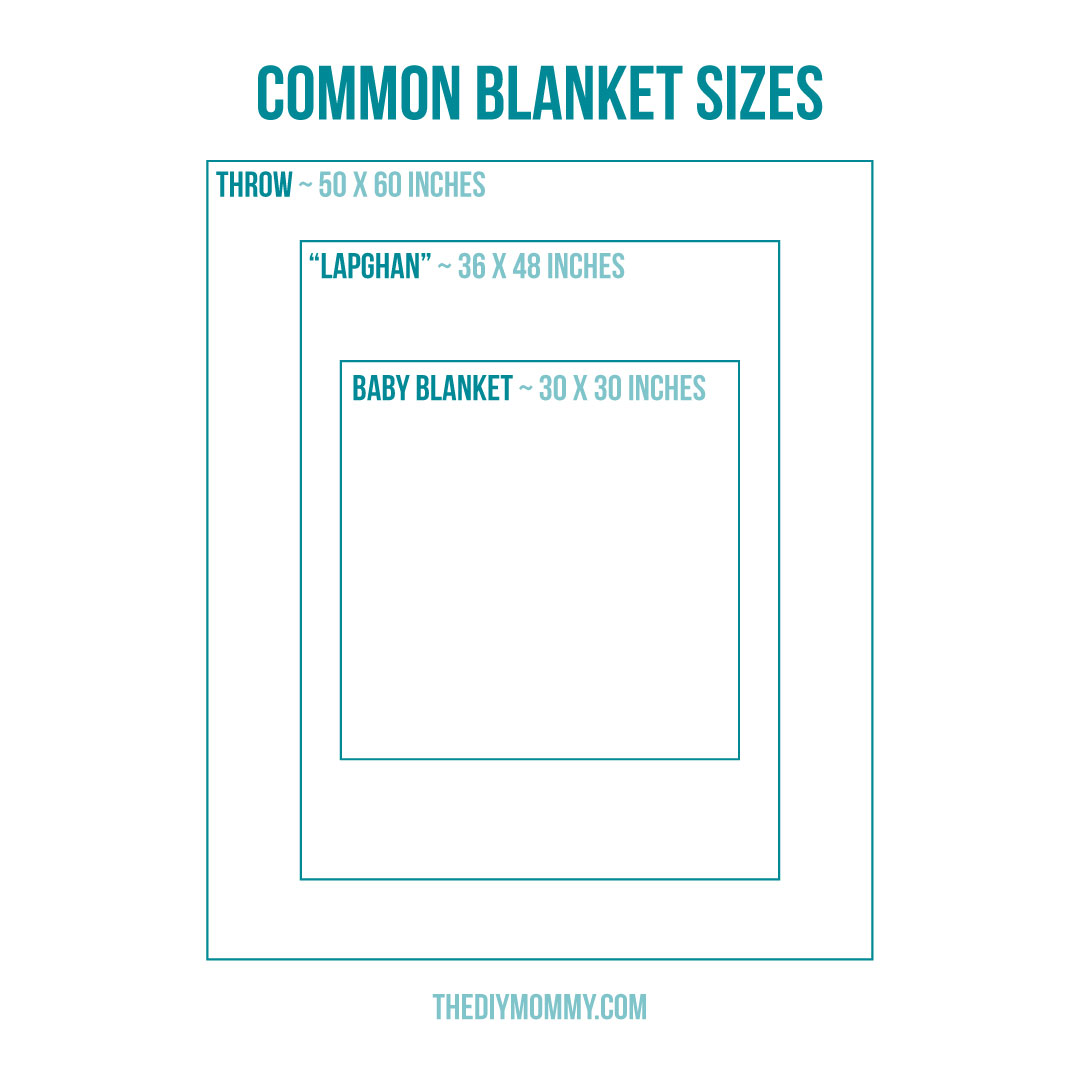 Chart with Common Blanket Sizes for Knitting or Sewing