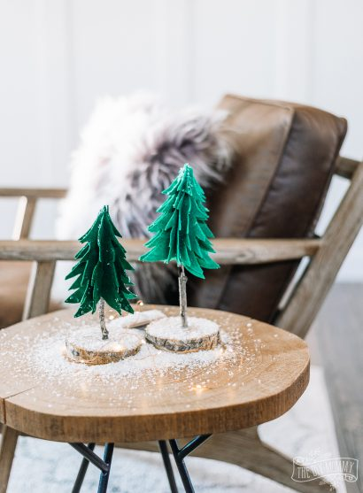 Make Rustic Felt & Wood Trees for Winter & Christmas Decor
