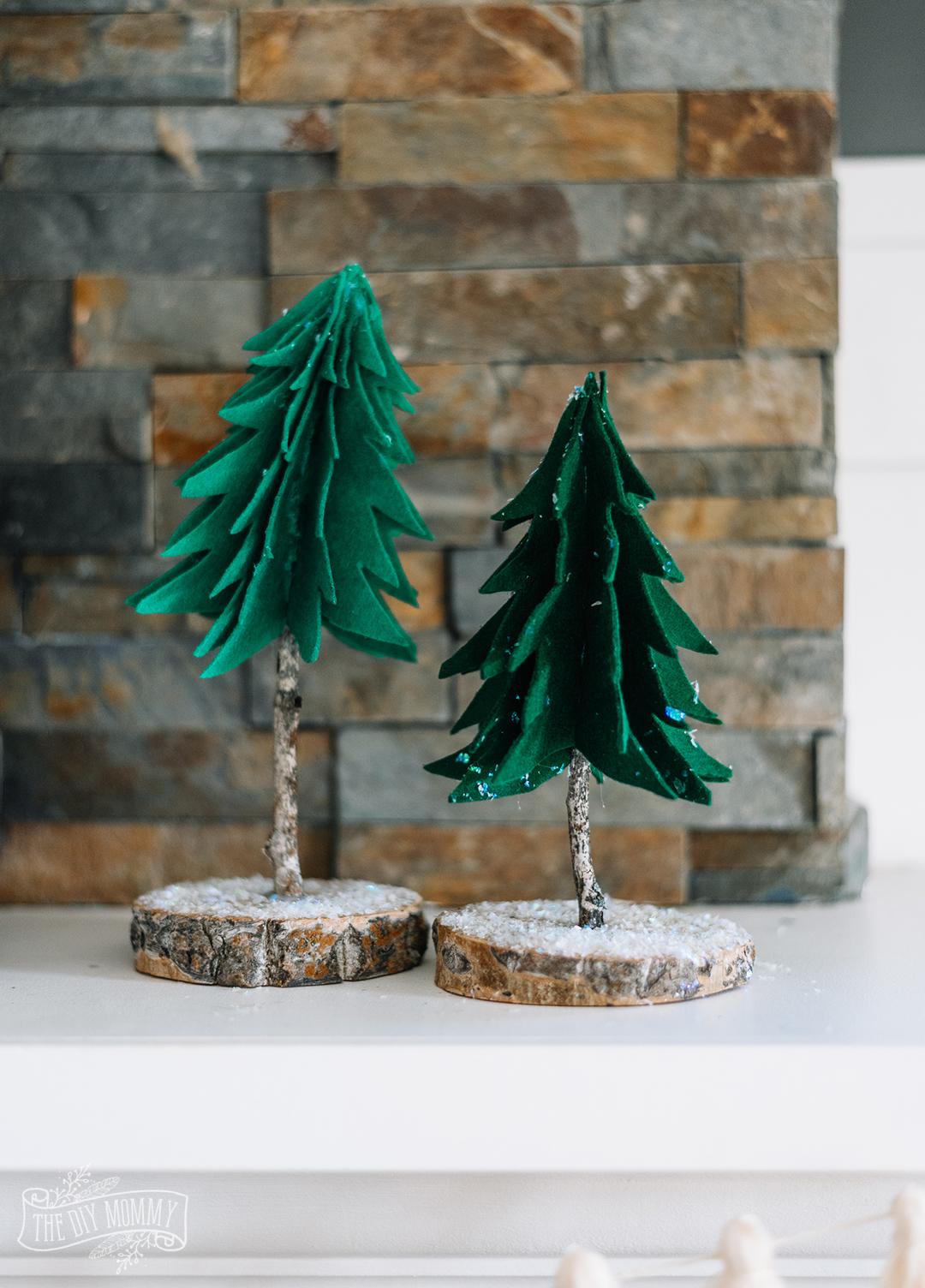 Make Rustic Felt & Wood Trees for Winter & Christmas Decor