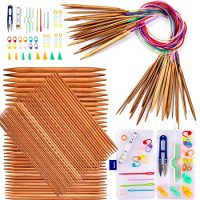 Exquiss Knitting Needles Set-18 Pairs 18 Sizes Bamboo Circular Knitting Needles with Colored Tube + 75 Pcs 15 Sizes Bamboo Double Pointed Knitting Needles Set + Weaving Tools Knitting Kits