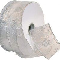 Morex Ribbon Snowflake Wired Sheer Glitter Ribbon, 2-½-Inch by 50-Yard Spool, White/Silver