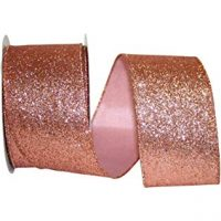 Reliant Ribbon 93073W-699-40F Gala Glimmer 2 Wired Edge Ribbon, 2-1/2 Inch X 10 Yards, Rose Gold