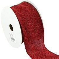 Kel-Toy Wired Faux Burlap Ribbon, 2.5-Inch by 10-Yard, Dark Red