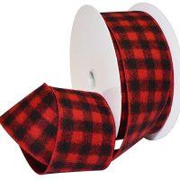 Morex Ribbon Red/Black French Wired Buffalo Plaid Ribbon
