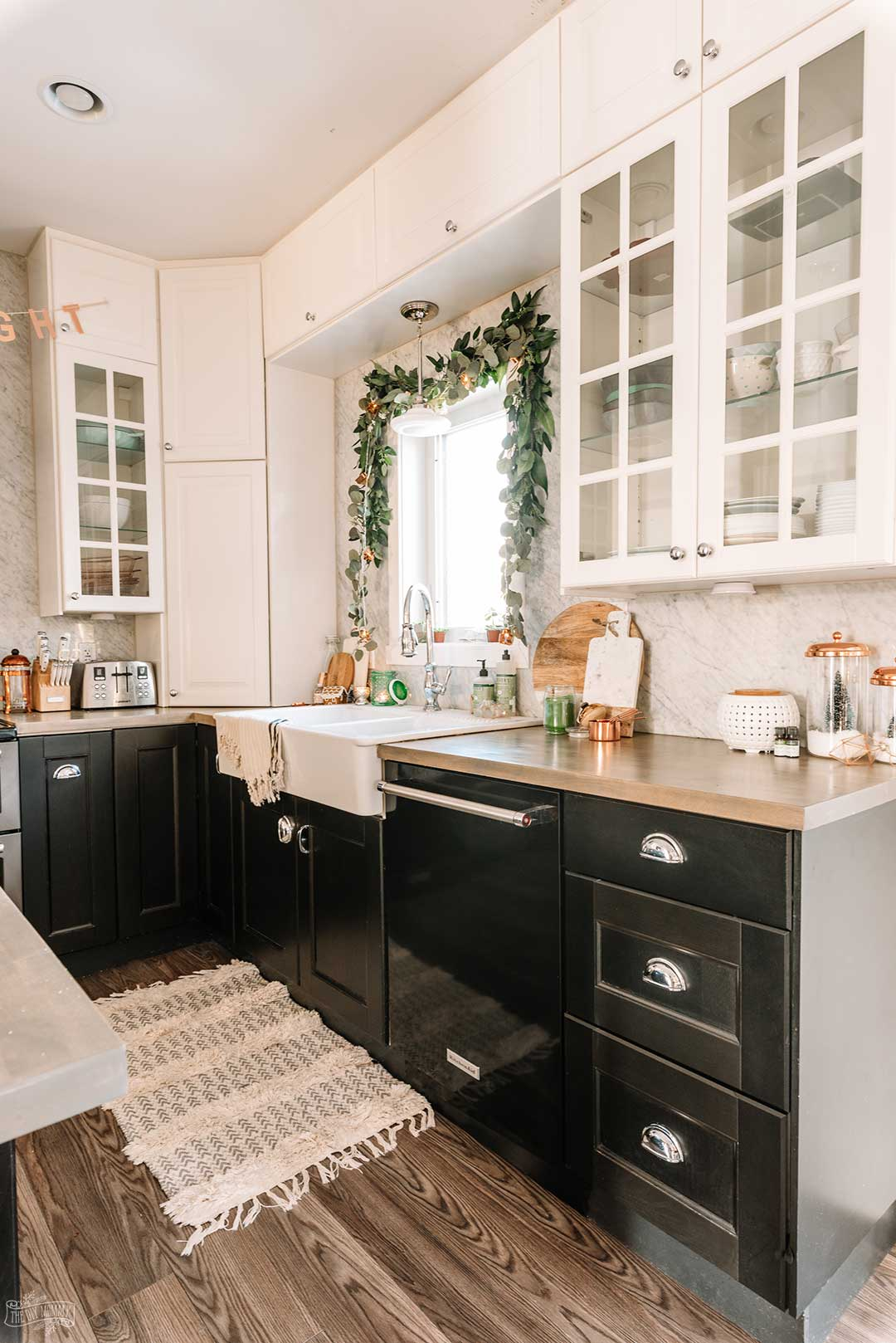 Copper, Green, Black & White Christmas Kitchen Decor