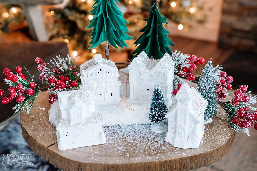 DIY Dollar Tree Christmas Village tutorial - so easy and inexpensive & looks so elegant!