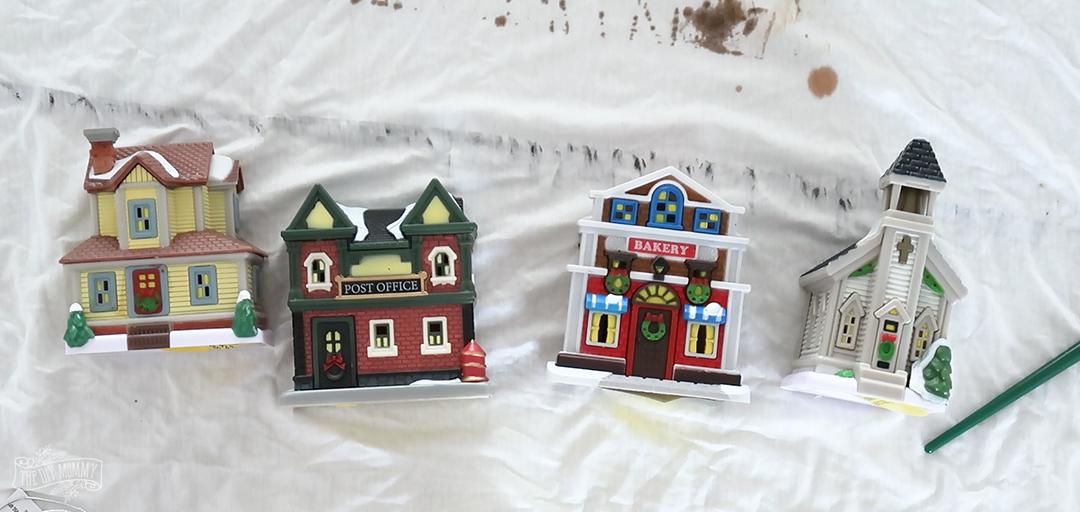 DIY Dollar Tree Christmas Village tutorial - so easy and inexpensive & looks so elegant!